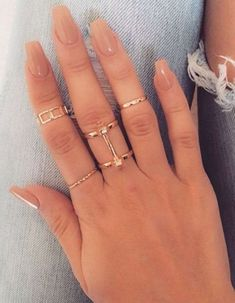 45 short coffin acrylic nail designs for this season – spring nails – short acrylic nails coffin – Hair And Nails, My Nails, Diva Nails, Uv Gel Nails, Nail Nail, Ongles Beiges, Nail Ring, Nagel Gel, Square Nails