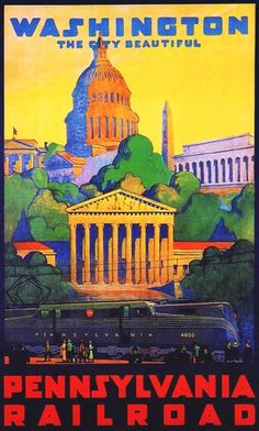 Pennsylvania Railroad Washington DC 1930s | Mad Men Art | Vintage Ad Art Collection: