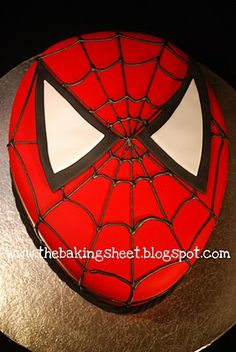 good close up of spiderman cake. This will help me get the lines right!