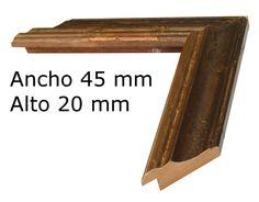 Moldura rústica color nogal fondo oro a $6.26 € el metro. www.cuadrosdomingo.com