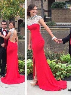 red prom dress, side slit prom dress, formal prom gown, backless prom dress, evening dress 2017, BD269