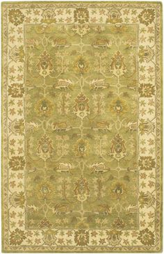 Green/Ivory/Olive/Brown Hand-Tufted Traditional Rug