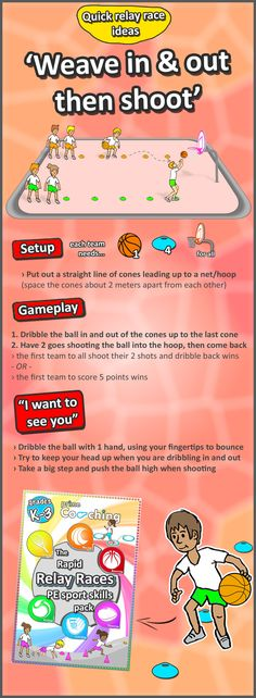 • Weave & shoot • a basketball game idea - we've got loads more FREE PE activities and drills for all the core sport skills, check out loads more PE teaching ideas