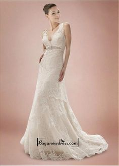 Alluring Tulle&Satin A-line V-neck Empire Waistline Wedding Dress - Buyanewdress.com