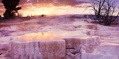 The limestone beauty of Mammoth Hot Springs Terraces, Yellowstone