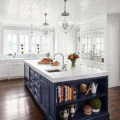 White KItchen Cabinets with Stainless Steel Appliances - Transitional - kitchen - Hampton Design Blue Kitchen Island, White Kitchen Cabinets, Kitchen Shelves, Navy Kitchen, Kitchen Pass, Island Blue, Glass Kitchen, Kitchen Islands, Kitchen Redo