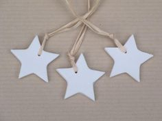 Christmas Decorations - handmade white porcelain stars (3 pieces)
