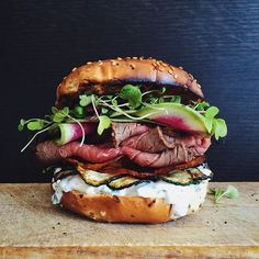 Roast Beef Sandwich With Herbed Goat Cheese, Crispy Zucchini And Sweet Potato Chips And Watermelon Radishes