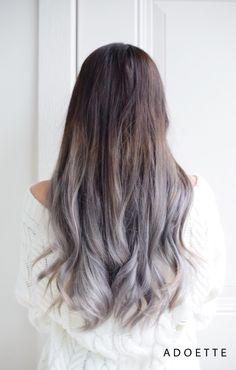 My new dark brown to gray ombré hair.  Thank you to Kelley!      #Hair #Ombre #OmbreHair #GrayHair #GreyHair #Grey #Gray #GreyOmbre #WinterFashion #FallFashion #Autumn #Winter #Fall