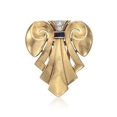 C. 1960 Vintage J.E. Caldwell and Co. Diamond and Sapphire Scarf Pin in 14kt Yellow Gold