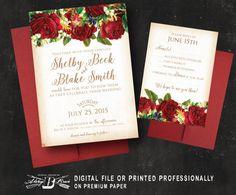 Red Blush Floral Wedding Invitation SET  Vintage by AlwaysBBrave