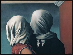 when Rene Magritte was growing up his mother drowned as was found with her dress wrapped around her head. Some have suggested this is why Magritte often covers his subjects faces.