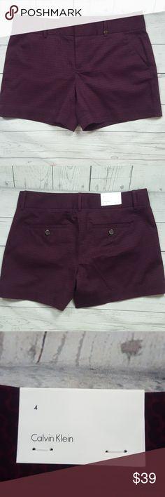 "CALVIN KLEIN shorts CALVIN KLEIN shorts stretch, flat front,loops for belt, front zipper hook closure. 97% cotton,3% elastane. Rise: 8 1/2"" Inseam:5"" Length across waist:16"" Length from waist to hem:13"" Calvin Klein Shorts"