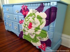 "LOVE this!!Use an overhead projector to ""blow-up"" an image and paint it onto furniture with craft paint. Seal with poly. CUTE!!!"