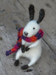 Little bunny with scarf SPECIAL EDITION  needle by feltingdreams,