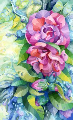 Camelia by vasoiko on DeviantArt Acrylic Flowers, Magnolias, Gouache, Impressionist, Contemporary Art, Pastel, Oil, Watercolor, Deviantart