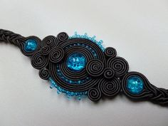 Original bracelet made of soutache, instantly attract attention:) Combination of dark chocolate and exotic turquoise. Length 17 cm (6,6 inches) with