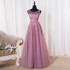 2016 Cheap Long Applique Beaded Prom Dresses Pink Red Burgundy Navy Blue Tulle Sheer Formal Evening Party Dress Vestido De Festa