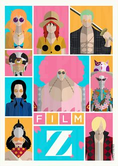 One Piece | Minimalist | Film Z | Nami | Monkey D Luffy | Roronoa Zoro | Brook | Sanji | Usopp | Nico Robin | Tony Tony Chopper