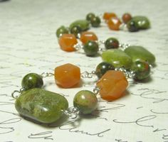 Green & Orange Earthy Gemstone Necklace Red and Green by EbonFlow, $12.00