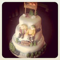 Ski  themed cake for wedding rehearsal