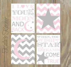 MOON And STARS NURSERY Pink Gray Nursery Pink by KalasKorner