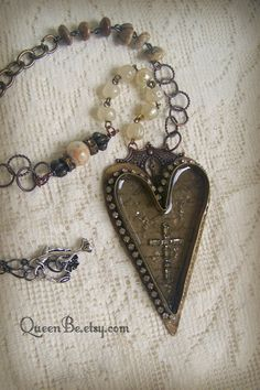 Assemblage Necklace Handmade Soldered Bezel Vintage by QueenBe