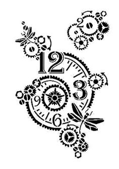 Cogs, Clocks, Dragonflies reuseable 190 micron Mylar Stencil - - - - Free UK P & P Steampunk Drawing, Steampunk Clock, Steampunk Diy, Stencil Patterns, Stencil Designs, Zentangle Patterns, Clock Drawings, Clock Art, Dragonfly Tattoo