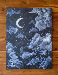 Serene Night Sky - Starry and Cloudy Moon Painting - Acrylic Painting - Bedroom Wall Art - Nu. Serene Night Sky - Starry and Cloudy Moon Painting - Acrylic Painting - Bedroom Wall Art - Nursery Decor - Unframed - Scenic Art , pintura Cute Canvas Paintings, Small Canvas Art, Mini Canvas Art, Simple Acrylic Paintings, Acrylic Painting Canvas, Diy Canvas, Paintings Of Nature, Canvas Painting Designs, Ocean Paintings