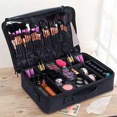 Valdler Large Makeup Bag Portable Cosmetic Organizer With Removable Divider Water Proof Multifunction Black Makeup Storage Case, Makeup Case, Makeup Organization, Eye Makeup Tips, Beauty Makeup, Makeup Ideas, Maquillage Tom Ford, Makeup Carrying Case, Mascara