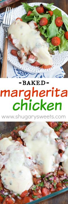 Baked Margherita Chicken _ A delicious dinner recipe, that can be prepped ahead of time! Fresh & zesty, this Baked Margherita Chicken easy & is to prepare and is a crowd pleaser! Serve with salad or pasta!