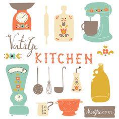 Vintage Kitchen Clip Art Set. Julia Glukhoy