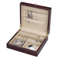 Reed & Barton Leah Jewelry Chest in Dark Elm Burl - 821BRL