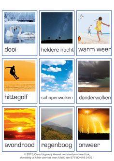 Woordkaarten over het weer. Dutch Language, South Holland, School Info, Learning Environments, School Projects, Preschool Activities, Vocabulary, Weather, Biology
