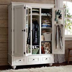 Bedroom armoire was created so many centuries ago by the European craft makers. The armoire is created for the bedrooms that do not have closets. Clothing Armoire, Clothing Storage, Ideas Armario, Bedroom Furniture, Bedroom Decor, Bedroom Ideas, Clothes Rod, Pottery Barn Teen, Closet Space