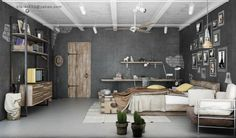 Interior Designs : Industrial Design Ideas For Bedroom With Nice High Ceiling Industrial Interior Design For Amazing Home Concept! Industrial Interior Design' Industrial Home Decor' Industrial Home Design Pictures also Interior Designss Brown Bedroom Decor, Home Decor Bedroom, Bedroom Ideas, Gray Bedroom, Bedroom Furniture, Wooden Furniture, Grunge Bedroom, Bedroom Girls, Single Bedroom