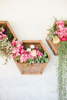 hexagon wall planters for flowers & succulents.