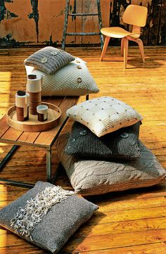 Pillows out of old sweaters