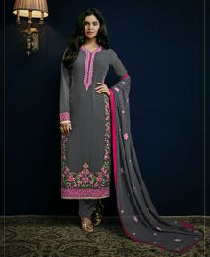 Buy Well Formed Dark Grey Straight Cut Salwar Kameez online at  https://www.a1designerwear.com/well-formed-dark-grey-straight-cut-salwar-kameez  Price: $37.49 USD