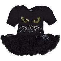 Unique Baby Girls Halloween Black Cat Bodysuit with Tutu