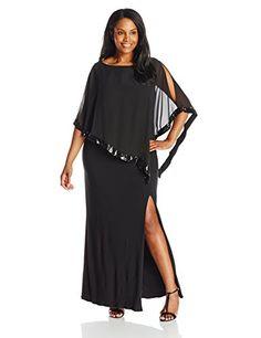 Fashion Bug Womens Plus Size Gown with Sequin Trim Overlay www.fashionbug.us #plussize #fashionbug #Dress