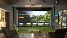 The Best Golf Simulator for your home or business. A complete Indoor Golf Simulator Solution with Putting and Impact Location, works indoor and outdoor. Home Golf Simulator, Indoor Golf Simulator, Golf Man Cave, Golf Bar, Golf Pro Shop, Golf Room, Golf Cart Parts, Golf Simulators, Home Theater Rooms