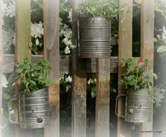 Vintage sifters as containers for plants.