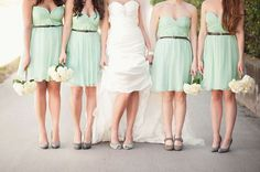 Mint green bridesmaid gowns are great for spring through summer and perfectly accented with gold or rose gold | Maggie Sottero