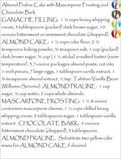 ... Almond Praline Cake with Mascarpone Frosting and Chocolate Bark