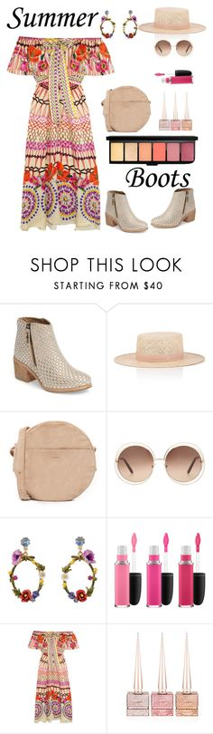 """Walk This Way: Summer Boots"" by ellie366 ❤ liked on Polyvore featuring Kelsi Dagger Brooklyn, Janessa Leone, BAGGU, Chloé, Les Néréides, MAC Cosmetics, Temperley London, Christian Louboutin, ruffles and offshoulderdress"