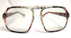 AMAZING large lens Multi colored  Vintage Eyeglasses Mens 1970s Non prescription lens intact. $65.00, via Etsy.
