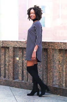 Knee High boots + stripe dress