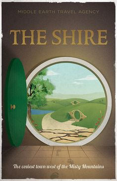 OR this Lord of the Rings Inspired Vintage Travel Poster by ThePixelEmpire, who also has some amazing Star Wars ones as well as Avatar, Legend of Zelda, and Game of Thrones, and does deals on combo packs