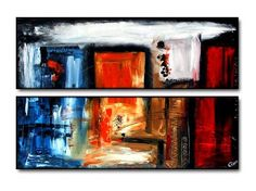 Geni008 48x20 Original Abstract Painting by Geni by genistudio, $69.99